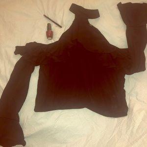 Black forever 21 top, bell sleeved, off shoulder